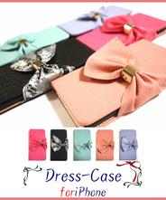 【メール便無料】 リボン 手帳型 ドレス  iPhone6/6s (4.7インチ) ケース [ロータスピンク]