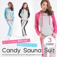 【送料無料】Candyサウナスーツ/次世代サウナスーツ/可愛く・楽しくダイエット黒・S