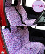 【NEW】 全席分シートカバー シートカバー 軽自動車 花柄 3カラー かわいい装着15分!90%の車に適合♪紫