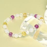 パワーストーン ブレス 魅惑の宝石 稼業繁栄  ルビー ルチルクオーツ ホワイトジェイド カット水晶 カット平珠水晶
