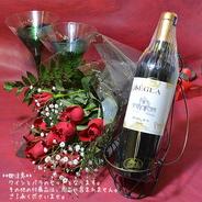 シャネルワインとバラのブーケ(花束)