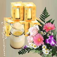 送料無料!誕生花アレンジメント&プレミアムとろけるプリン6個セット