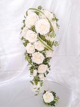 キャスケードブーケ (ブートニア付き) プリザーブドフラワー(幅22cm×奥25cm×高70cm)