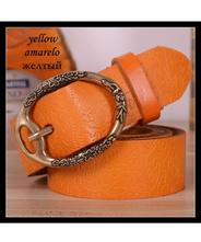 ベルト レディース 太いタイプの本革ベルト オレンジ 本革太ベルト 幅3.3cm