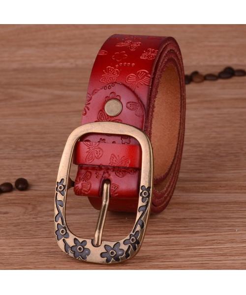 ベルト レディース 太いタイプの本革ベルト レッド 本革太ベルト 幅3.3cm バックル長方形タイプ