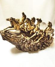〈開運・招福〉九頭龍神社ご祈願済パワーストーン 馬九(うまく)いく置物 ゴールド クラック水晶の玉付き