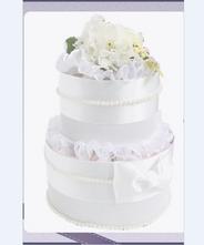 おむつケーキ パール&フラワーシリーズ〈WHITE〉