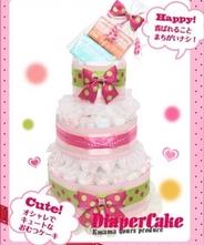 オーガニック石鹸付きオムツケーキ(ピンク)