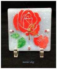 【送料無料】ベネチアンガラスミルフィオリ掛け時計        薔薇 L 【レッド】