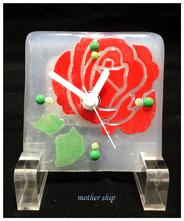 【送料無料】ベネチアンガラスミルフィオリ掛け時計        薔薇 S 【レッド】
