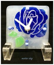 【送料無料】ベネチアンガラスミルフィオリ掛け時計        薔薇 S  【ブルー】