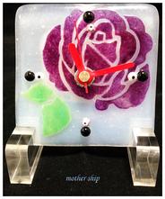 【送料無料】ベネチアンガラスミルフィオリ掛け時計        薔薇 S  【バイオレット】