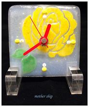 【送料無料】ベネチアンガラスミルフィオリ掛け時計        薔薇 S  【イエロー】