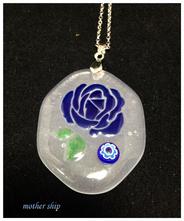 【送料無料】ベネチアンガラスミルフィオリ薔薇ネックレス 【ブルー】