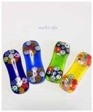 【送料無料】ベネチアンガラスミルフィオリ箸置き4個セット (透明)