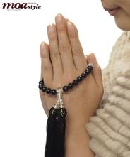 手作り数珠(モリオン・黒水晶)文字入れ対象商品 (修理可能商品)