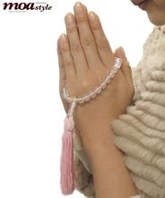 手作り数珠(ローズクオーツ・紅水晶)文字入れ対象商品