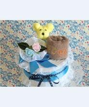 【犬・おむつケーキ】ペットシーツケーキ・ひつじ刺繍タオル(ブルー)★送料無料★