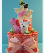 【犬 おむつケーキ】ペットシーツケーキ・ハッピードック(ピンク)★送料無料★