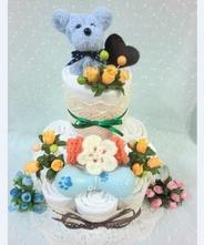 【犬 おむつケーキ】ペットシーツケーキ マリーコットン2段(ブルー)★送料無料★