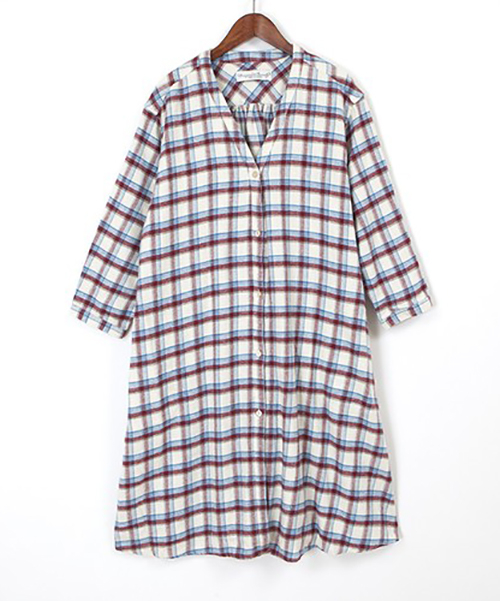 twill check long onepiece / ivory