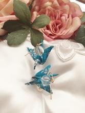 【厄除け・水晶】お守りアクセサリー・折り鶴ピアス
