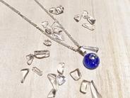 【厄除け・水晶】お守りアクセサリー・星座入り藍染ネックレス
